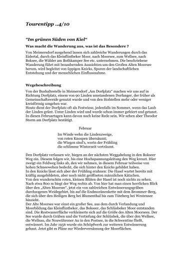 """Tourentipp 4/2010: """"Im grünen Süden von Kiel"""" als PDF-Download"""