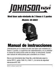 Manual de instrucciones - Johnson Level