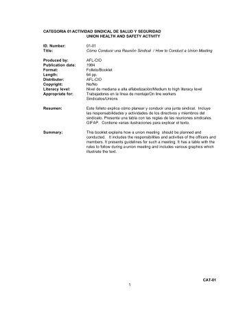 01 - Actividad Sindical de Salud y Seguridad - UCLA LOSH