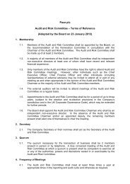Pace plc - Terms of Reference - Audit and Risk Committee