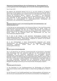 Zulassungszahlensatzung - Hochschule Bremen