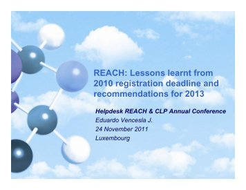 REACH: Lessons learnt from 2010 registration deadline and 2010 ...