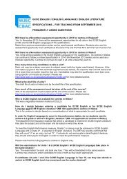 Frequently Asked Questions - Specifications from 2010 - WJEC