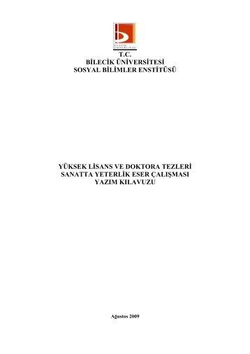 tc bilecik üniversitesi sosyal bilimler enstitüsü yüksek lisans ve ...
