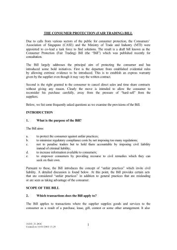 1 THE CONSUMER PROTECTION (FAIR TRADING) BILL Due to ...