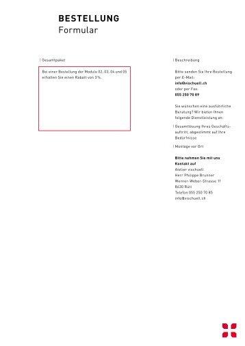 BeStellung Formular - BoDeWo