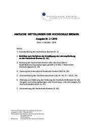 Amtliche Mitteilungen 2/2010 - Hochschule Bremen