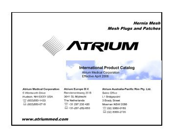 International Product Catalog - Atrium Medical Corporation