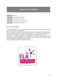 RAPPORT D'ACTIVITES 2012 - Ela
