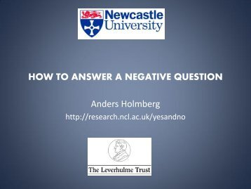 How to Answer a Negative Question