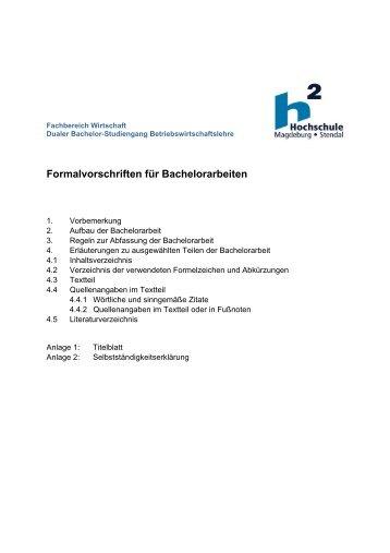 Formalvorschriften für Bachelorarbeiten - Hochschule Magdeburg ...