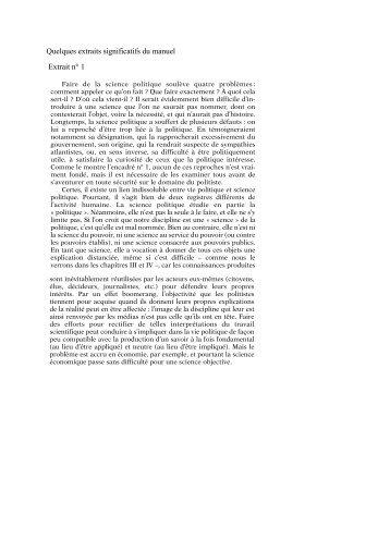 Quelques extraits significatifs du manuel Extrait n° 1 - Yves Schemeil