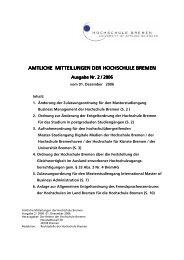 Amtliche Mitteilungen 2-2006 - Hochschule Bremen