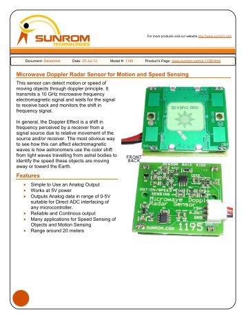 Microwave Doppler Radar Sensor for Motion and Speed Sensing ...