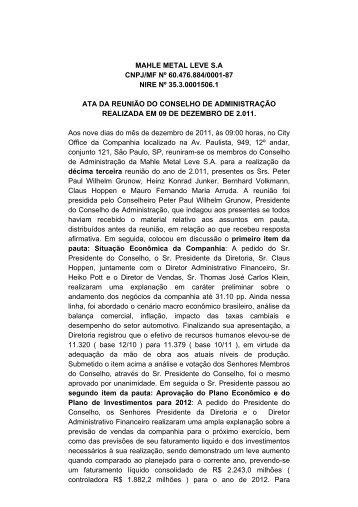 MAHLE METAL LEVE S.A CNPJ/MF Nº 60.476.884/0001-87 NIRE ...