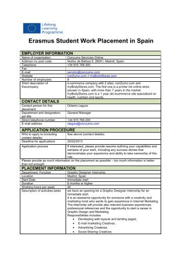 Erasmus Student Work Placement in the UK