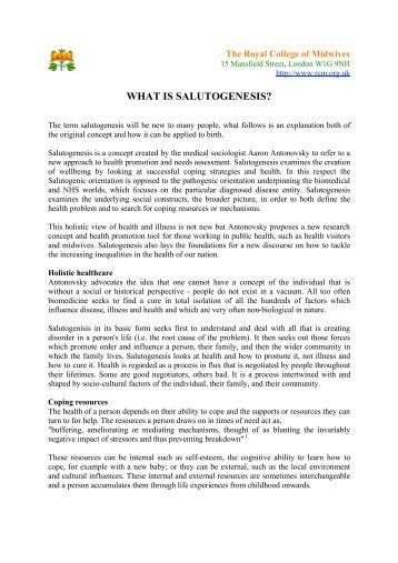 WHAT IS SALUTOGENESIS?