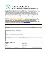 sixth college study abroad scholarship application