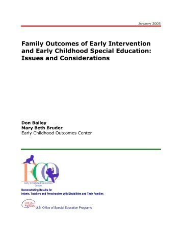 Family Outcomes of Early Intervention and Early Childhood Special ...