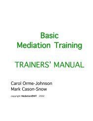 Basic Mediation Training TRAINERS' MANUAL - Campus Conflict ...
