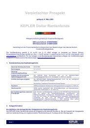 KEPLER Dollar Rentenfonds VVKP 31.03.09 - boerse-live.at