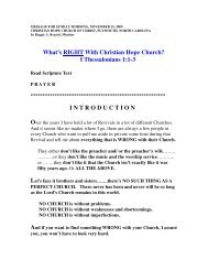 What's Right With Christian Hope Church