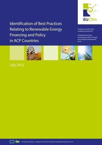 Identification of Best Practices Relating to Renewable Energy ...