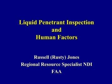 Liquid Penetrant Inspection and Human Factors - Center for ...