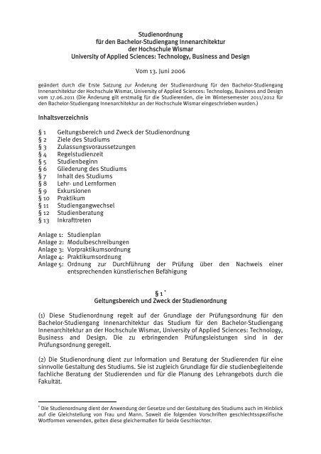 Studienordnung f r den bachelor studiengang for Innenarchitektur bachelor