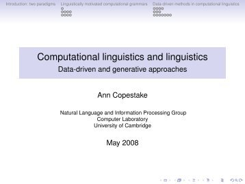 Computational linguistics and linguistics - corpora@parles.upf