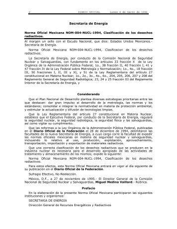 Norma Oficial Mexicana NOM-004-NUCL-1994 ... - NEWMDB