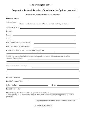 Admin. of Medication Form - Wellington School