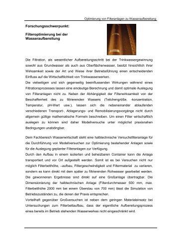 Filteroptimierung bei der Wasseraufbereitung - Hochschule ...