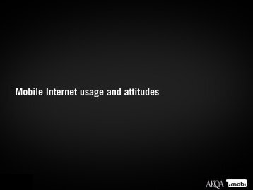 Mobile Internet usage and attitudes