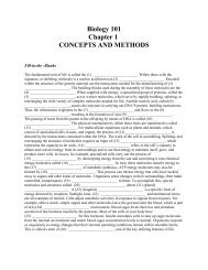 Biology 101 Chapter 1 CONCEPTS AND METHODS