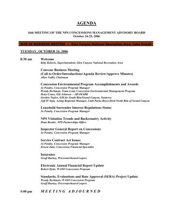 agenda for advisory board meeting - National Park Service ...