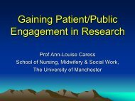 Service User Involvement in Research - The University of Manchester