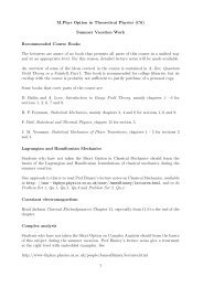M.Phys Option in Theoretical Physics (C6) Summer Vacation Work ...