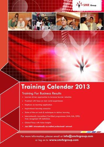 Training Calendar 2013 - SMR Group