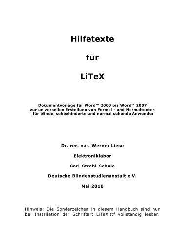 Hilfetexte für LiTeX - Werner Liese