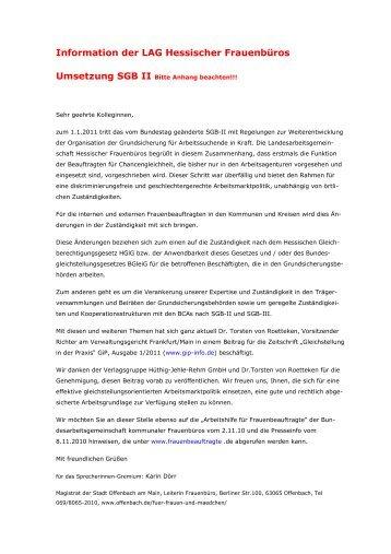 Neuregelungen zu den Jobcentern im Hinblick auf BGleiG und HGlG