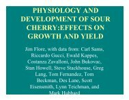 physiology and development of sour cherry:effects on growth