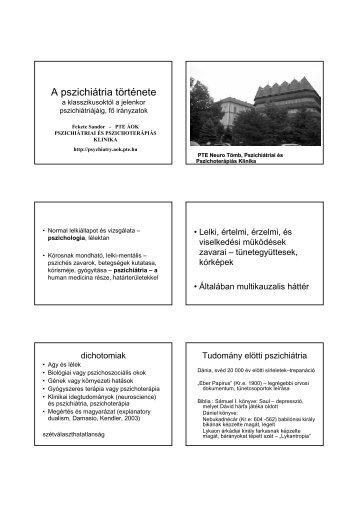 A pszichiátria története - Pszichiátriai és Pszichoterápiás Klinika
