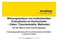 Wirkungsanalyse von institutionellen Evaluationen an ... - Die evalag