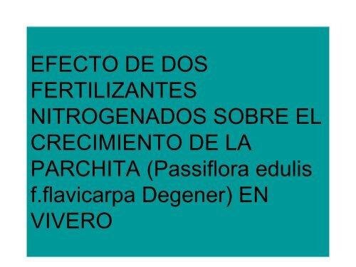 EFECTO DE DOS FERTILIZANTES NITROGENADOS ... - CEDAF