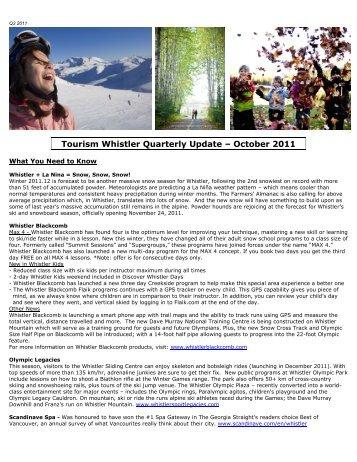 Tourism Whistler Quarterly Update – October 2011