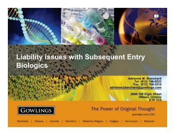 Liability issues with Subsequent Entry Biologics - Life Sciences