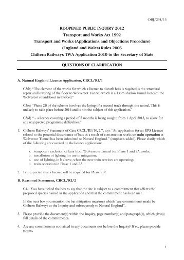 Questions of clarification - Chiltern Evergreen3
