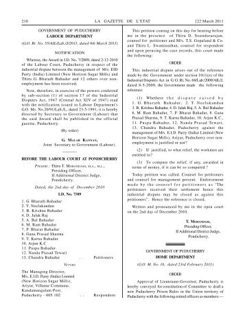 Government Notifications - Government of Puducherry