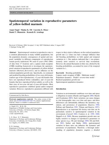 Spatiotemporal variation in reproductive parameters ... - ResearchGate